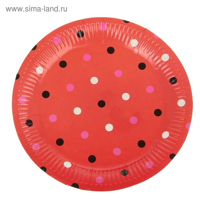 """Набор бумажных тарелок """"Горох"""" красный цвет, (6 шт), 23 см"""