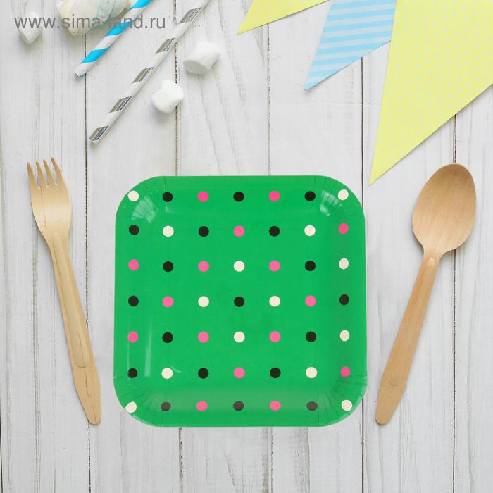 """Набор бумажных тарелок""""Цветной горох"""" зеленый цвет, (6 шт), 23 см"""