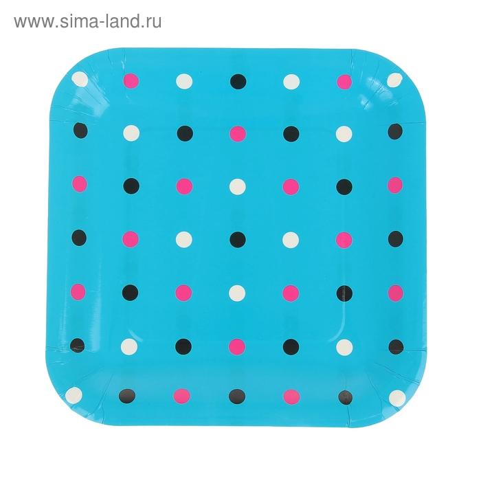 """Набор бумажных тарелок """"Цветной горох"""" голубой цвет, (6 шт), 23 см"""