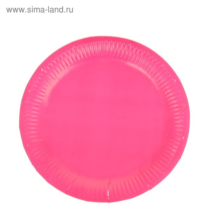 Набор бумажных тарелок, розовый цвет, (6 шт), 23 см