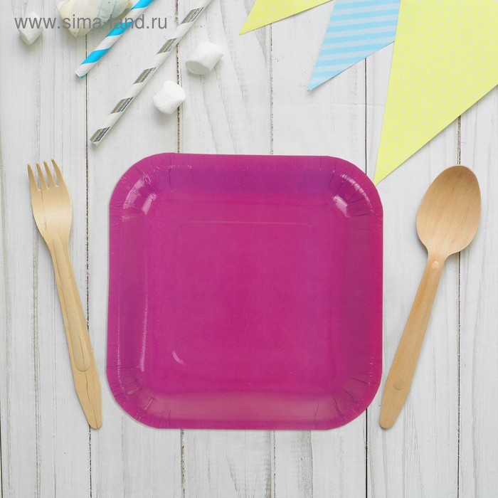 Набор бумажных тарелок, фиолетовый цвет, (6 шт), 18 см