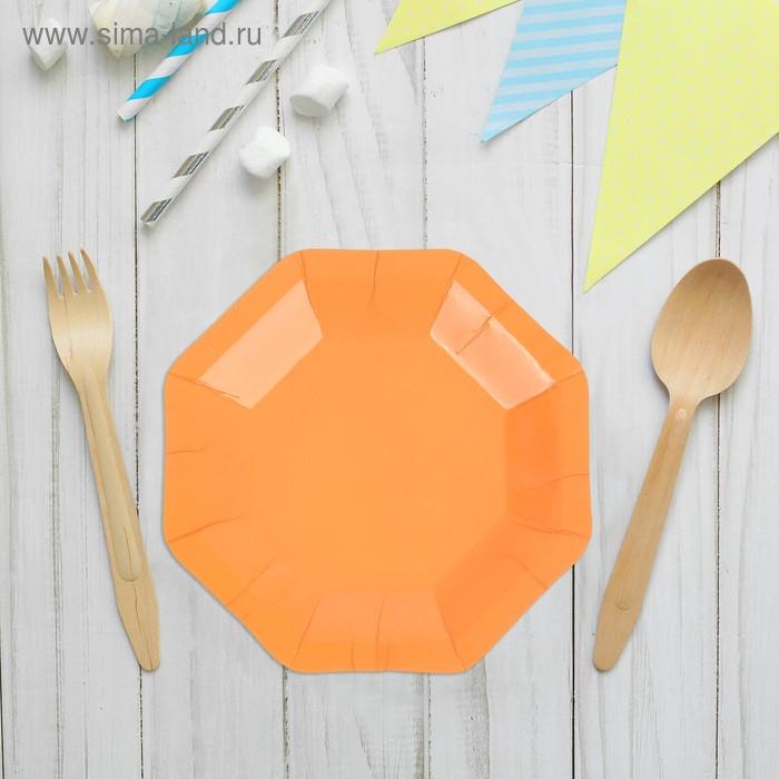 Набор бумажных тарелок, оранжевый цвет, (6 шт), 18 см