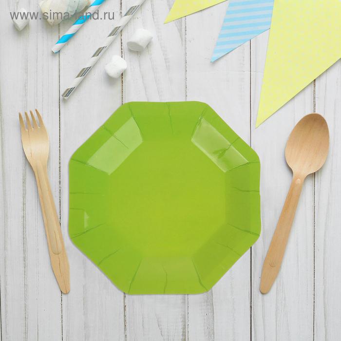 Набор бумажных тарелок, салатовый цвет, (6 шт), 18 см