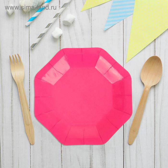 Набор бумажных тарелок, розовый цвет, (6 шт), 18 см