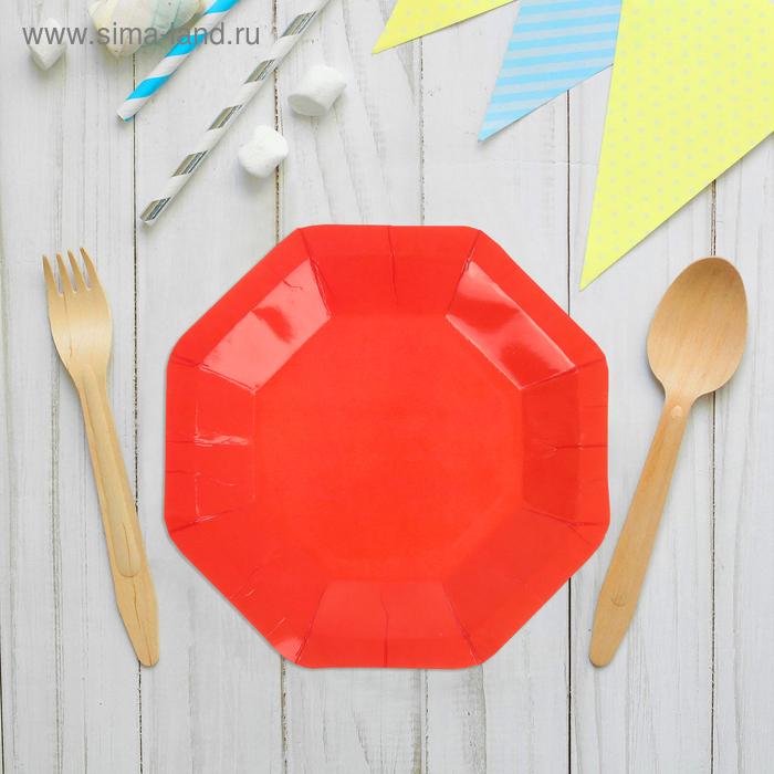 Набор бумажных тарелок, красный цвет, (6 шт), 18 см