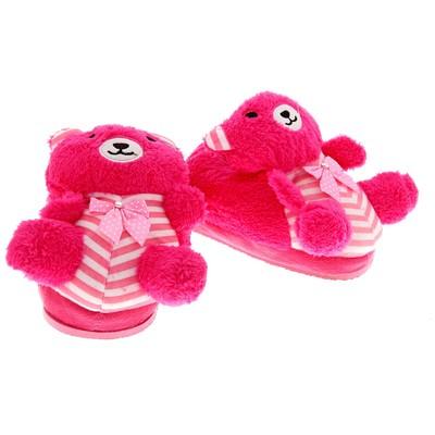"""Тапочки-зверушки """"Мишутка букле"""", 31 размер, цвет розовый"""