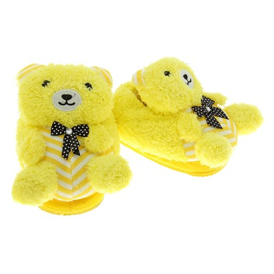 "Тапочки-зверушки ""Мишка букле"", 31 размер, цвет жёлтый"