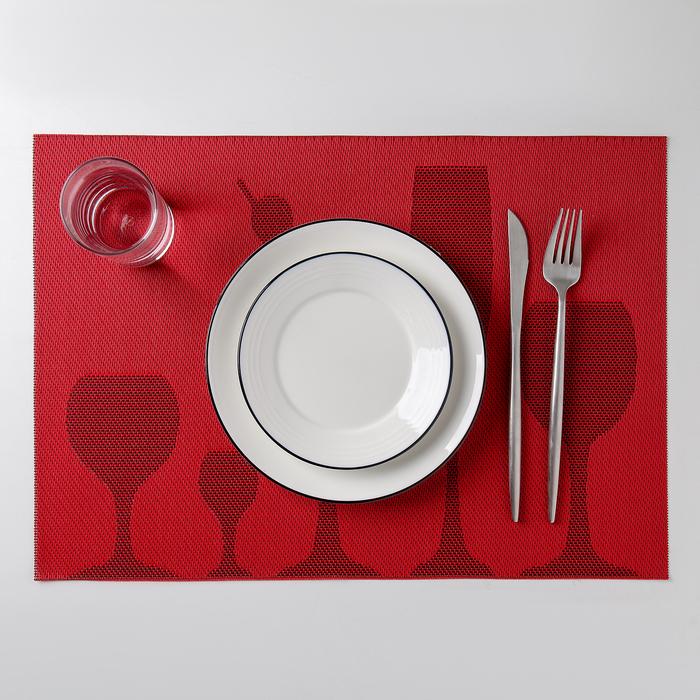 """Салфетка кухонная """"Бокалы"""" 45х30 см, цвет красный"""