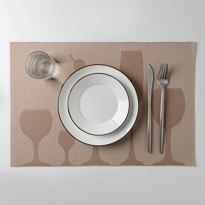 """Салфетка кухонная """"Бокалы"""" 45х30 см, цвет бежевый"""
