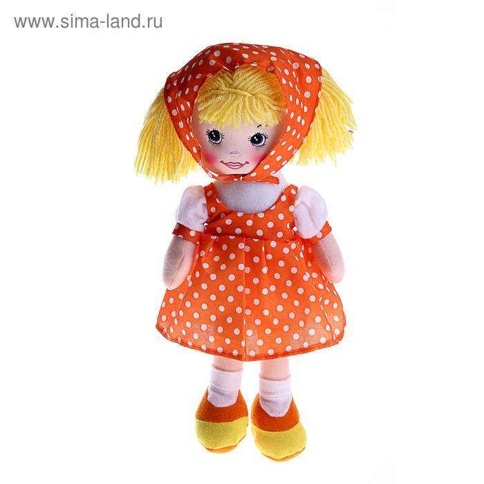 """Мягкая игрушка кукла """"Ксюша"""" оранжевое платье, косынка в горох"""