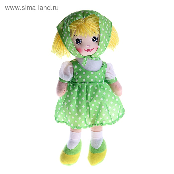 """Мягкая игрушка кукла """"Ксюша"""" зеленое платье, косынка в горох"""