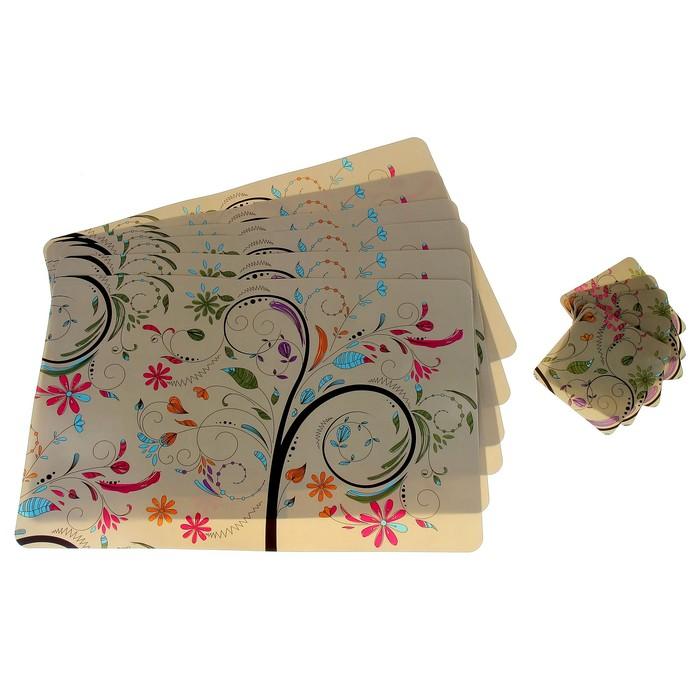 "Набор салфеток кухонных 12 см ""Фламенко"" 6 шт - 43х28 см, 6 шт - 10х10 см"