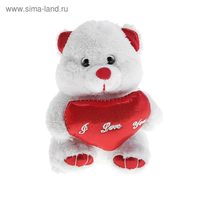 """Мягкая игрушка """"Мишка белый"""", сердце, лапки, ушки красные, 14 см"""
