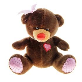 Мягкая игрушка музыкальная 'Мишка коричневый, на голове бантик' с бусами Ош