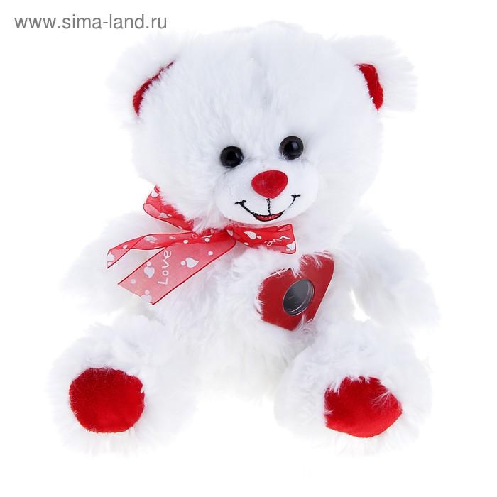 """Мягкая игрушка музыкальная """"Мишка белый с бантиком"""", сердце стучит"""