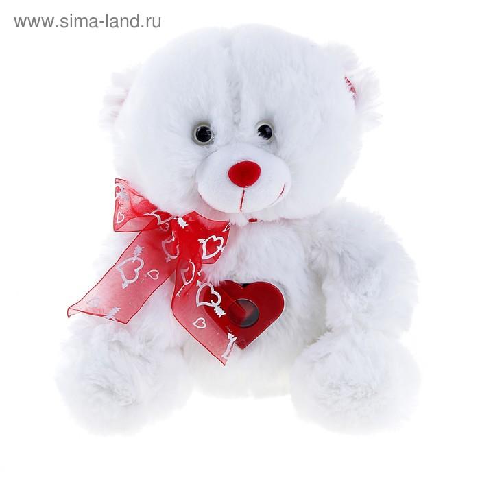 """Мягкая игрушка музыкальная """"Мишка белый с бантом"""" сердце стучит"""