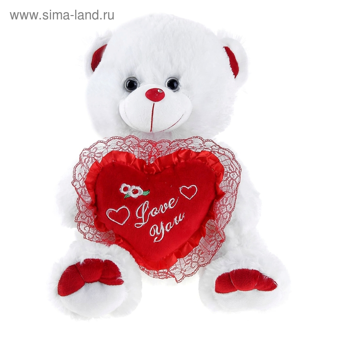 """Мягкая игрушка """"Мишка белый с сердцем на носу стразик"""" 35 см"""