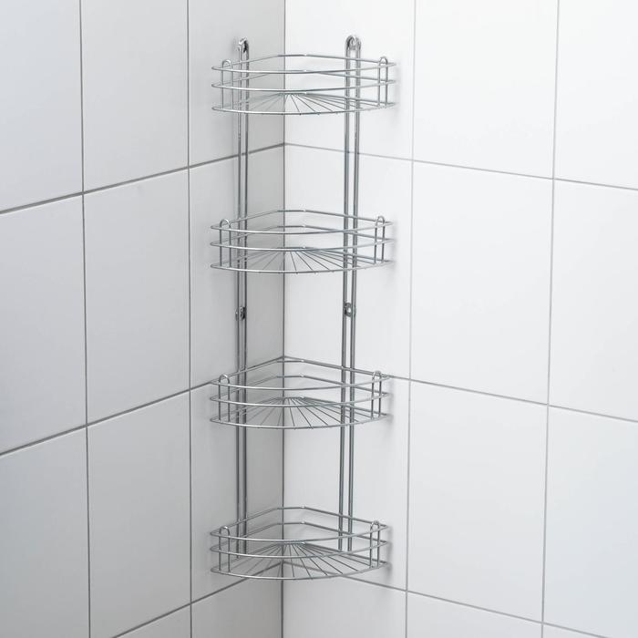Полка угловая 4-х ярусная, 28×18×85 см, цвет хром зеркальный