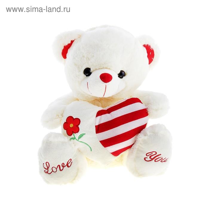 """Мягкая игрушка """"Медведь"""" на сердце цветок"""