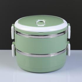 Ланч-бокс 1.4 л «Пикник», 2 тарелки, внутри металл, микс, 15х16х16 см Ош