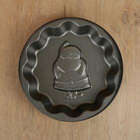 Форма для выпечки Доляна «Дед мороз. Волнистый круг», 25×4 см, антипригарное покрытие