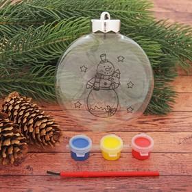 Новогоднее ёлочное украшение под роспись «Шар со снеговиком», 3 × 10 × 11 см + краски