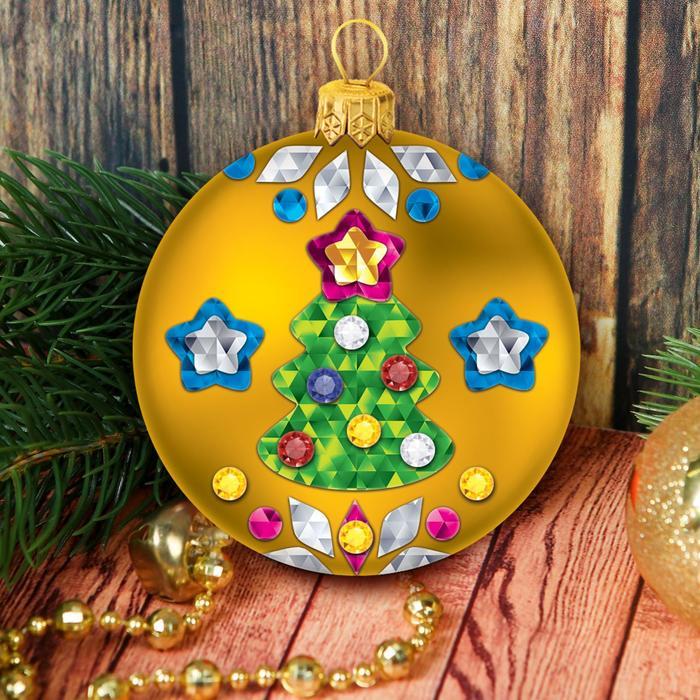 Набор для творчества. Декорирование ёлочного шара цветной фольгой, шар золотой + стразы - фото 99005