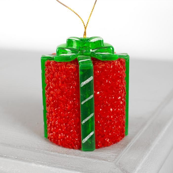 """Игрушка световая """"Подарок"""" (батарейки в комплекте) 7 х 8,5 см, 1 LED, RGB, КРАСНЫЙ"""