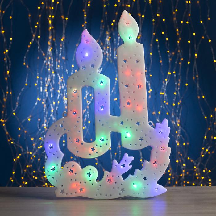 """Фигура """"Свечки"""" 28х42 см, пластик, 35 LED, 240V МУЛЬТИ - фото 1745852"""