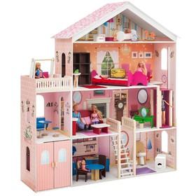 Большой дом для кукол «Мечта» (28 предметов мебели, лифт, лестница, гараж, балкон, качели)