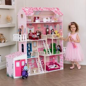 Деревянный дом для кукол «Нежность», (28 предметов мебели, 2 лестницы, гараж)