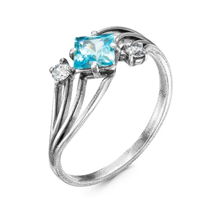 Кольцо ''Галактика'', посеребрение с оксидированием, цвет голубой, 19 размер 2760387