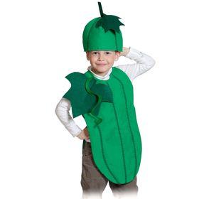 """Карнавальный костюм """"Огурец"""", текстиль, накидка и маска-шапочка, рост 98-128 см"""