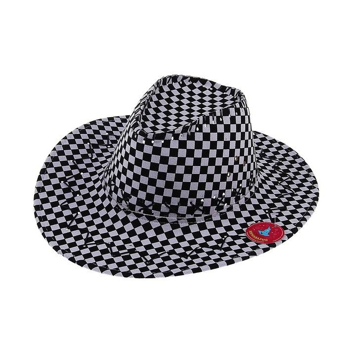 "Карнавальная шляпа ""Ковбой"", чёрно-белая клетка, р-р 56-58, на завязках"