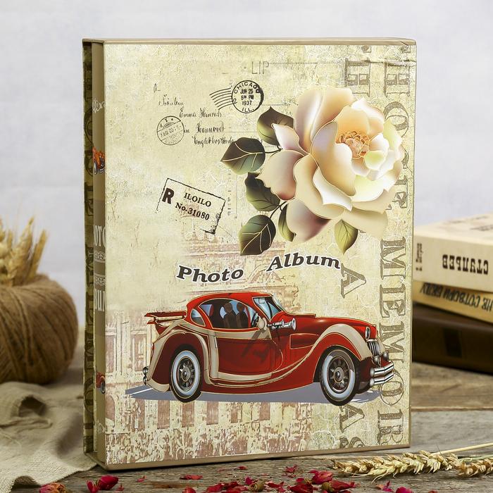 """Фотоальбом на 200 фото 13х18 см """"Ретроавтомобиль"""" в коробке МИКС 29,5х23х5,5 см"""