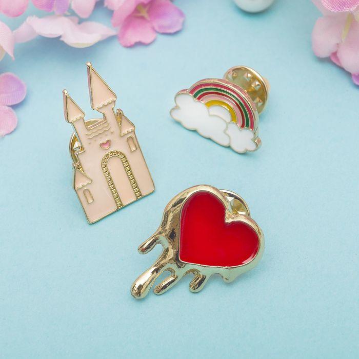 """Набор значков """"Замок принцессы"""", разноцветный в золоте"""