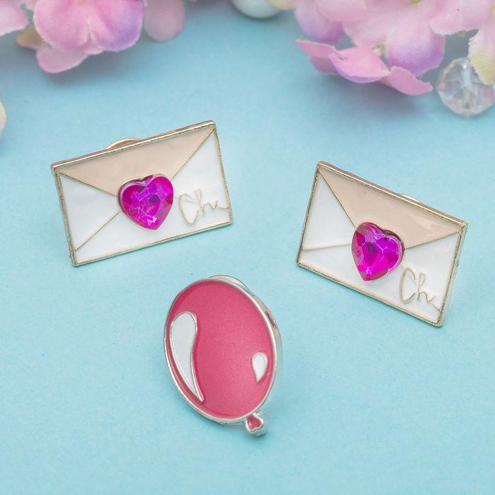 """Набор значков """"Письма любви"""", цвет бело-розовый в золоте"""