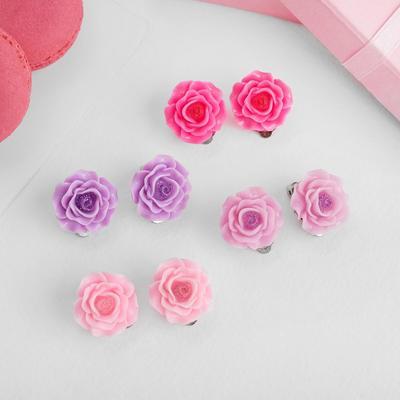 """Клипсы детские """"Выбражулька"""", розы с блестками, цвет микс"""