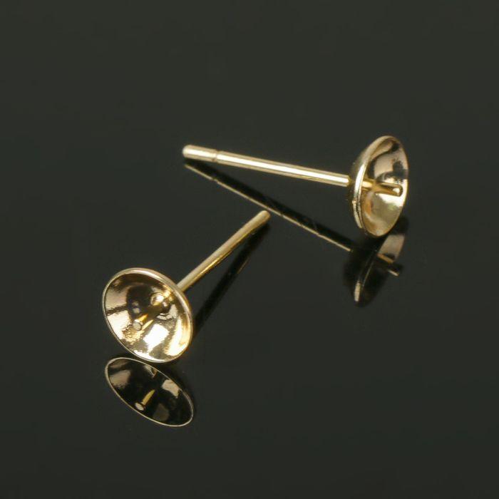 Основа для пусет со штифтом (5 пар), цвет золото