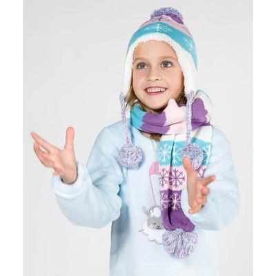 """Комплект утеплённый для девочки """"Снежинки"""" (шапка, шарф), р-р 50, цв.розовый/фиолетовый"""