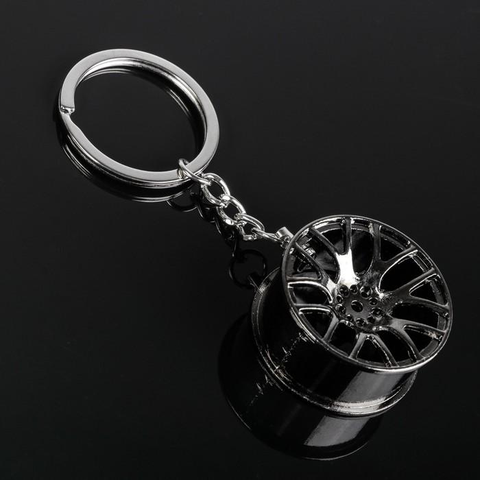 Брелок диск, темный хром, металл