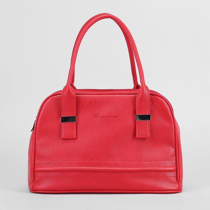 Сумка женская, 3 отдела на молниях, наружный карман, цвет красный