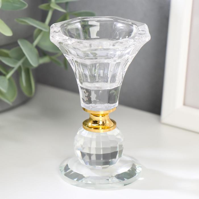 Подсвечник стекло на 1 свечу ''Вазон с шариком'' 9,2х5,6х5,6 см 2533940