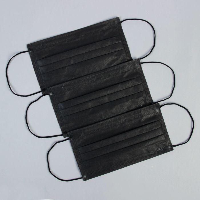 Маска медицинская трехслойная черный цвет