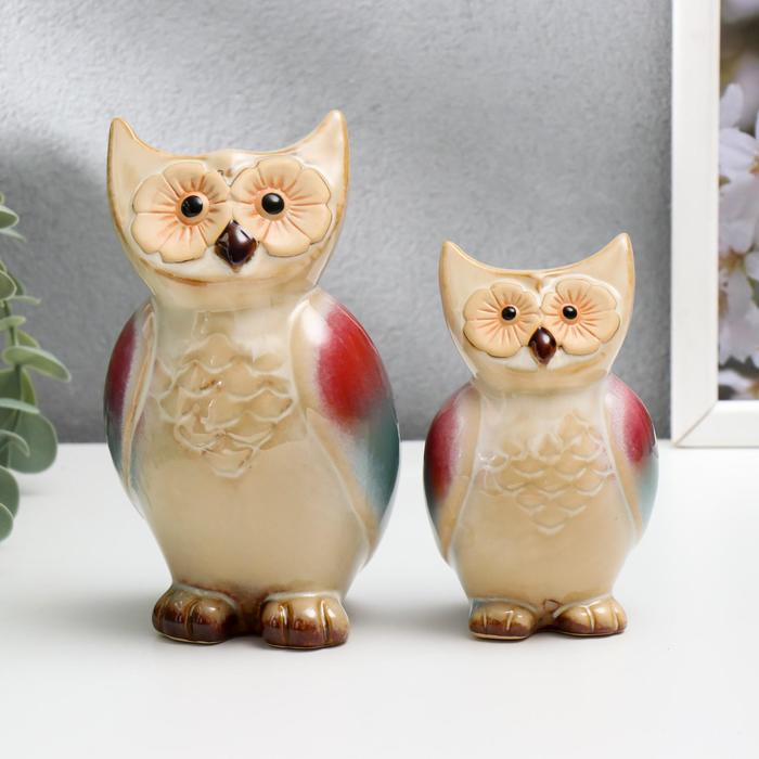 "Сувенир керамика ""Совушки в обнимку"" набор 2 шт 12,5х10,5х4 см"