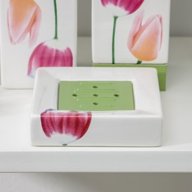 Набор аксессуаров для ванной комнаты «Полдень», 4 предмета (дозатор 300 мл, мыльница, 2 стакана)