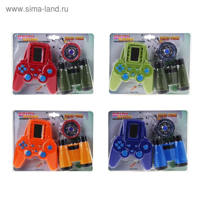 Электронная игра EV-8000, 3 предмета: тетрис, бинокль, йо-йо, цвета МИКС
