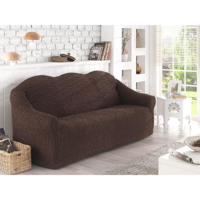 Чехол для двухместного дивана Karna, без юбки, цвет коричневый 2651