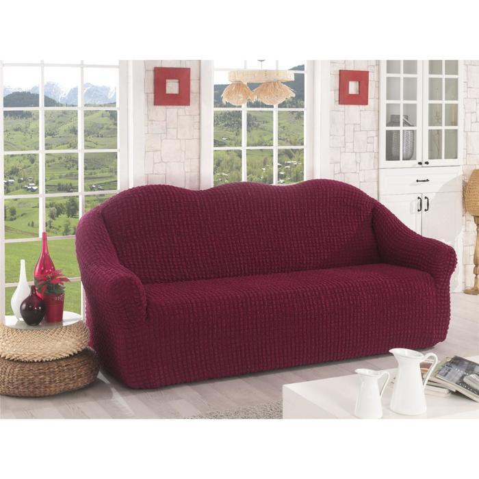 Чехол для трёхместного дивана Karna, без юбки, цвет бордовый 2652
