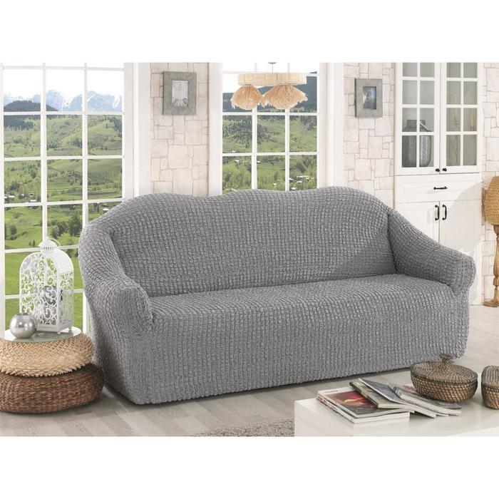 Чехол для трёхместного дивана Karna, без юбки, цвет серый 2652